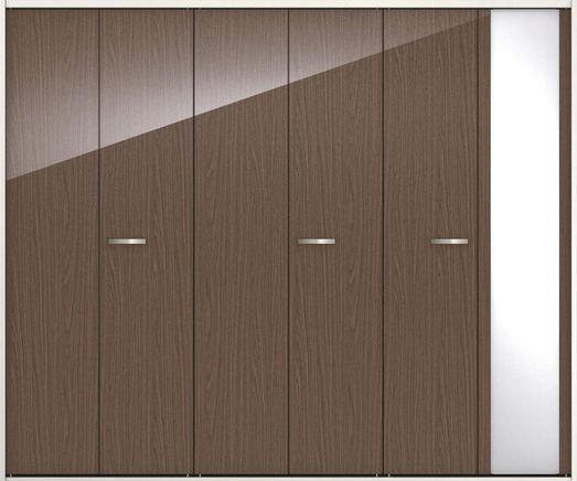 ハピアプレミア クローク収納 折戸ユニット フラットタイプ ミラー扉 グロス調 固定枠尺モジュール 四方枠 2000高 2450幅(9尺間口) ウォールナット柄(ダルブラウン) 大建工業の建具 ハンドル付きタイプのドア