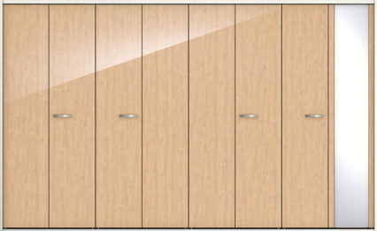 ハピアプレミア クローク収納 折戸ユニット フラットタイプ ミラー扉 グロス調 固定枠尺モジュール 四方枠 2300高 3327幅(12尺間口) メープル柄(ミルベージュ) 大建工業の建具 ハンドル付きタイプのドア