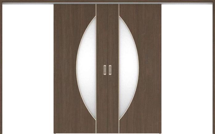 ハピアベイシス 吊戸・引分 D5デザイン扉セット 2000高 3255幅 ダルブラウン 大建工業の建具
