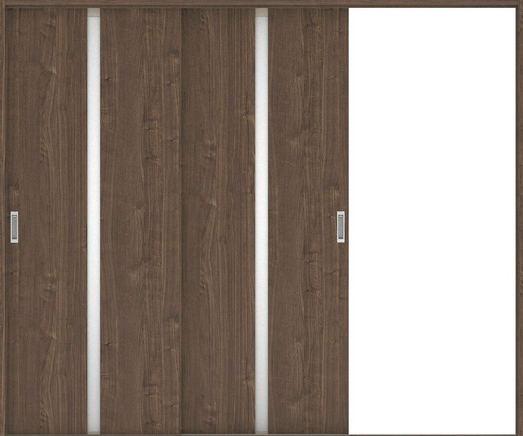 ハピアプレミア 引戸・2枚片引 2Pデザイン扉セット 2000高 2432幅 ウォールナット柄(ダルブラウン) 大建工業の建具