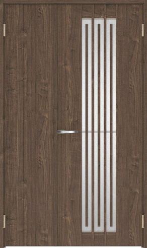 ハピアプレミア 親子ドア 5Sデザイン扉セット 2000高 空錠 ウォールナット柄(ダルブラウン) 鍵なし 大建工業の建具
