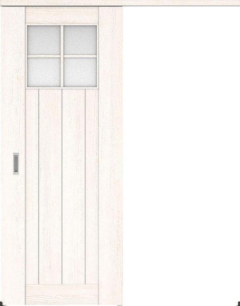 ハピアプレミア アウトセット吊戸・片引 1Sデザイン扉 2000高 835幅 カマ錠なし アッシュ柄(ネオホワイト) 大建工業の建具