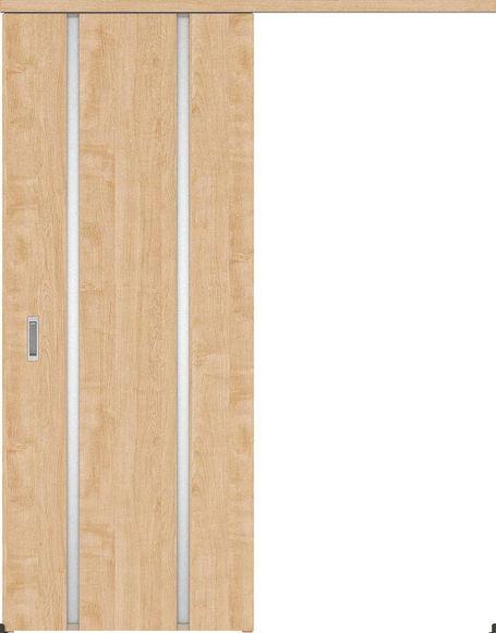 ハピアプレミア アウトセット吊戸・片引 3Pデザイン扉 2000高 835幅 カマ錠なし メープル柄(ミルベージュ) 大建工業の建具