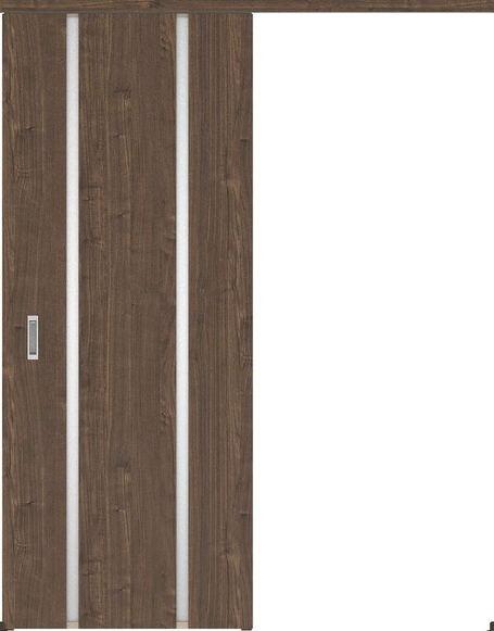ハピアプレミア アウトセット吊戸・片引 3Pデザイン扉 2000高 835幅 カマ錠なし ウォールナット柄(ダルブラウン) 大建工業の建具