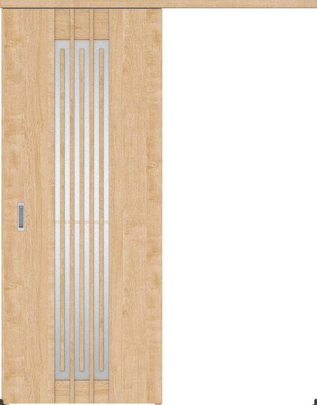ハピアプレミア アウトセット吊戸・片引 5Sデザイン扉 2000高 835幅 カマ錠なし メープル柄(ミルベージュ) 大建工業の建具