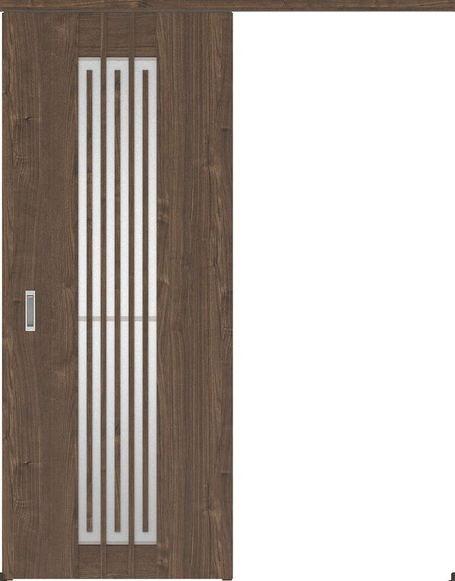ハピアプレミア アウトセット吊戸・片引 5Sデザイン扉 2000高 835幅 カマ錠なし ウォールナット柄(ダルブラウン) 大建工業の建具