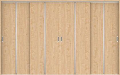 ハピアプレミア 吊戸・4枚引違 6Pデザイン扉セット 2000高 3255幅 メープル柄(ミルベージュ) 大建工業の建具