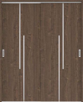 ハピアプレミア 吊戸・引違 7Pデザイン扉セット 2000高 1645幅 ウォールナット柄(ダルブラウン) 大建工業の建具