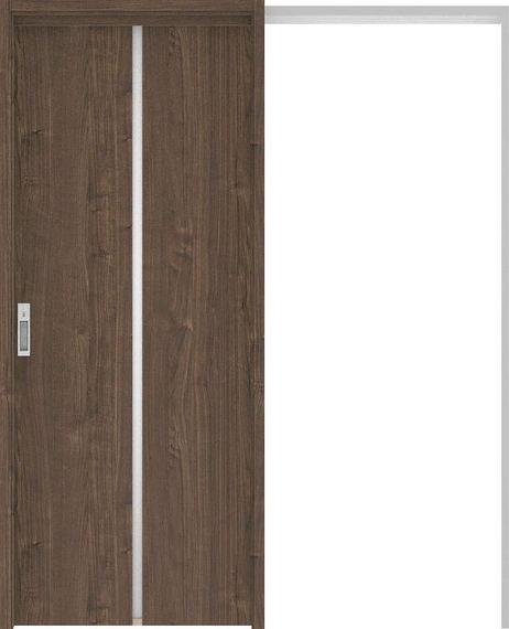 ハピアプレミア 吊戸・引込 6Pデザイン扉セット 2000高 1645幅 ウォールナット柄(ダルブラウン) 大建工業の建具