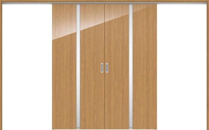 ハピアプレミア 吊戸・引分 2Pデザイン扉セット 2000高 3255幅 チェリー柄(ティーブラウン) 大建工業の建具