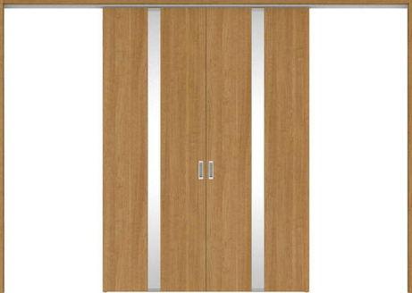 ハピアプレミア 吊戸・引分 0Cデザイン扉セット 2300高 3255幅 チェリー柄(ティーブラウン) 大建工業の建具