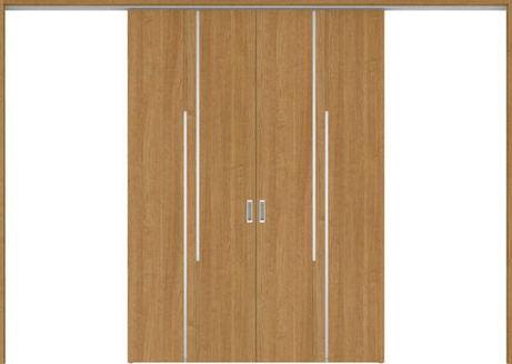 ハピアプレミア 吊戸・引分 7Pデザイン扉セット 2300高 3255幅 チェリー柄(ティーブラウン) 大建工業の建具