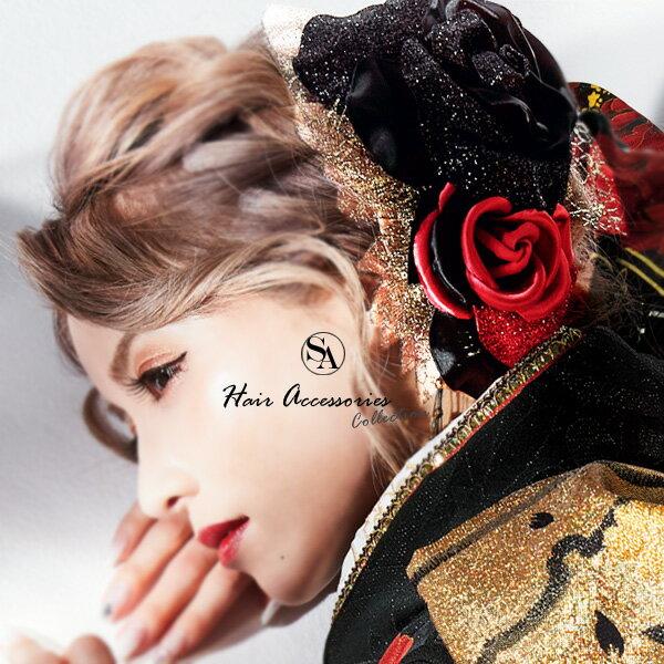 髪飾り かみかざり カミカザリ 赤黒薔薇レース KKY21【JELLY 坂本礼美】 成人式髪飾り 振袖髪飾り 袴髪飾り 浴衣髪飾り 着物髪飾り