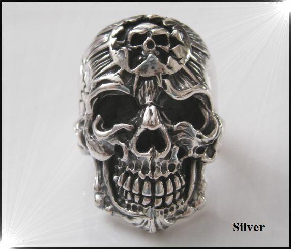 ダブルスカルリング(3)11号・13号・15号・17号・19号・21号・23号・25号・27号・29号/指輪シルバー925ドクロ骸骨【メイン】銀(人気商品)(メンズ)/スカル リング指輪アクセサリー(SKULL  RING)送料無料!