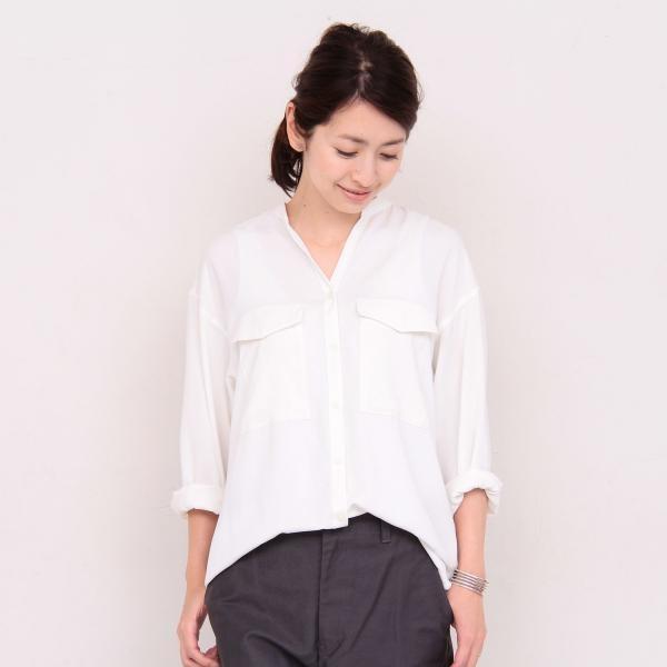 BY マットサテンミリタリースタンドカラーシャツ 3 -手洗い可能-/ビューティ&ユース(レディース)(BEAUTY&YOUTH)