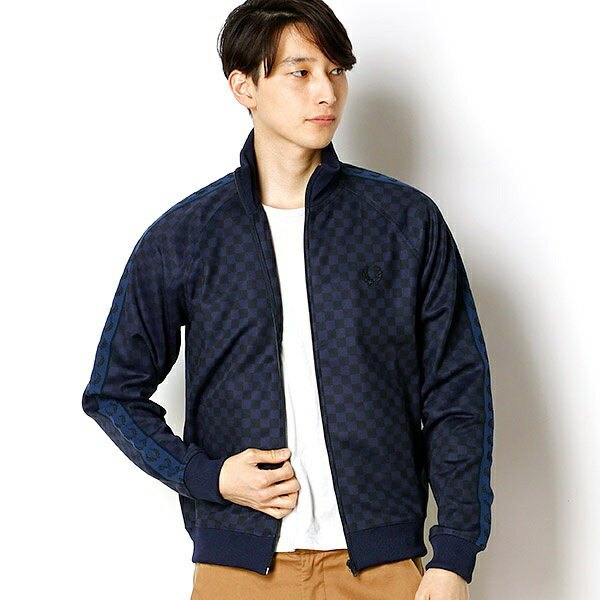 【17SS】CHEQUERBOARD PRINT TRACK JACKET/フレッドペリー(メンズ)(FRED PERRY)