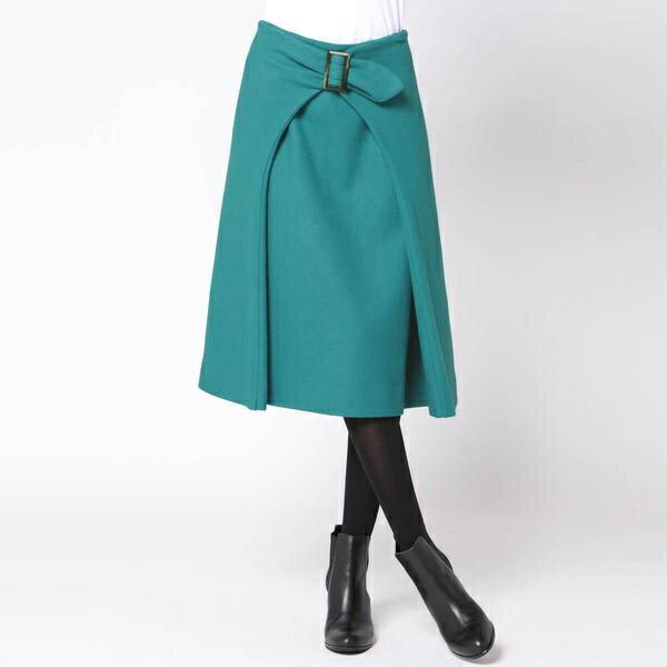 ウール圧縮ベルトデザインスカート/ビアッジョブルー(Viaggio blu)