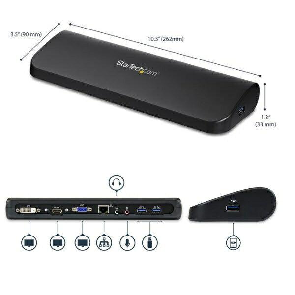 StarTech USB3.0接続ノートPCパソコンドッキングステーション/ポートリプリケーター デュアルビデオ対応(HDMI/DVI-DまたはDVI-D/VGA)  USB3SDOCKHDV