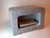 墓 花立 角香炉(白御影石) ステンレス線香皿付き  リフォーム お彼岸 お墓参り 線香受け皿