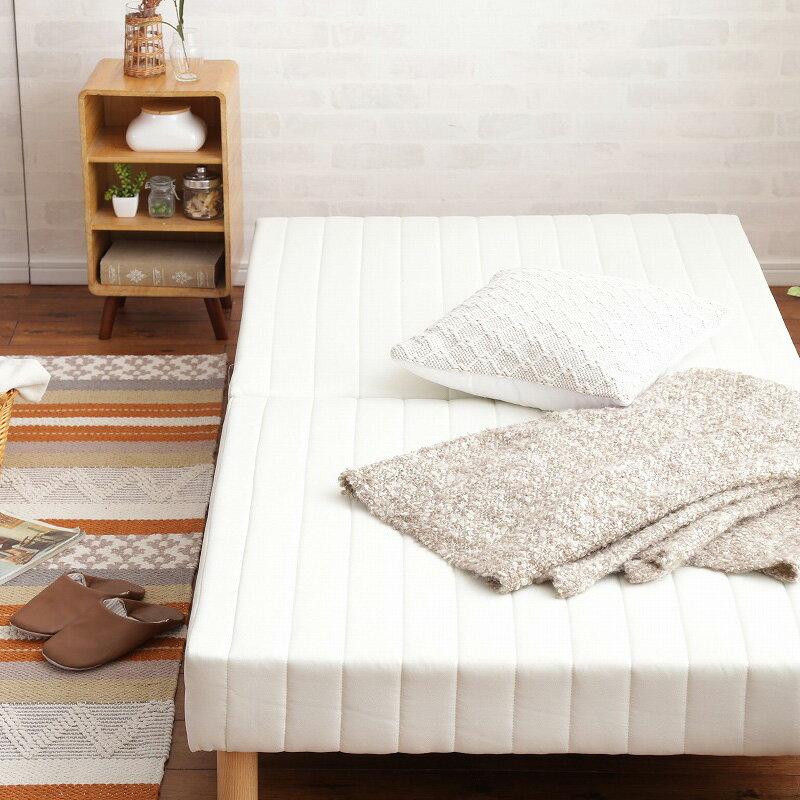 脚付きマットレスベッド セミダブル SD ボンネルコイル ヘッドレスベッド : ホワイトWH【caled】 ホワイト(white) 天然木脚 セパレート 分割式