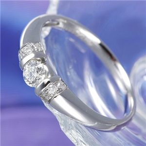 【ポイント20倍】0.28ctプラチナダイヤリング 指輪 デザインリング 15号