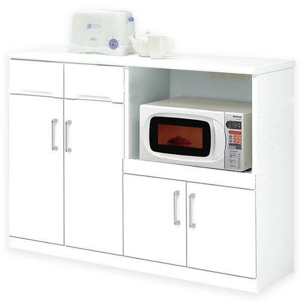 【ポイント20倍】キッチンカウンター 幅120cm 二口コンセント/可動棚/キャスター付き 日本製 ホワイト(白) 【完成品】【代引不可】