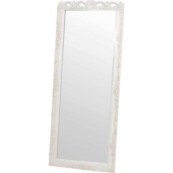 スタンドミラー/全身姿見鏡 高さ170cm 木製 アンティークホワイト 『ヴィオレッタシリーズ』  【代引不可】