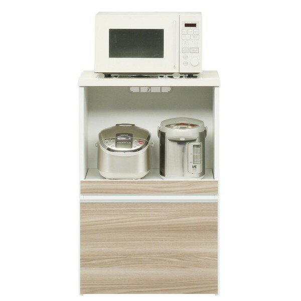 【ポイント20倍】キッチンカウンター 幅60cm 二口コンセント/スライドテーブル/引き出し付き 日本製 ブラウン 【完成品】【開梱設置】【代引不可】