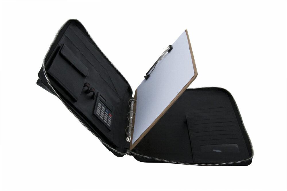 プレミアムレザー本革オーガナイザー 11インチノート型パソコンケース一体型バインダーパッドフォリオ ハンドル付き