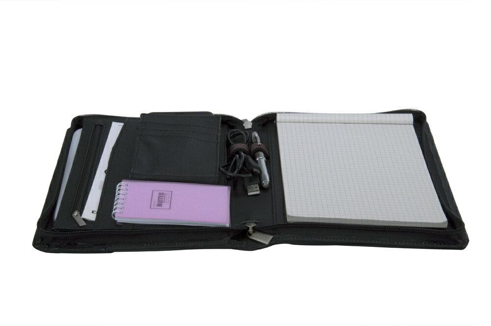 コンパクトオーガナイザー 本革レザー製 タブレットPCケース一体型A5書類ケース