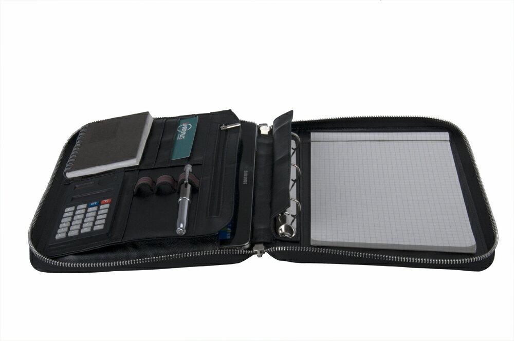 本格派 牛革レザー 3穴式リングバインダー ハンドル付きフォリオ 多機能ファイルA5サイズ