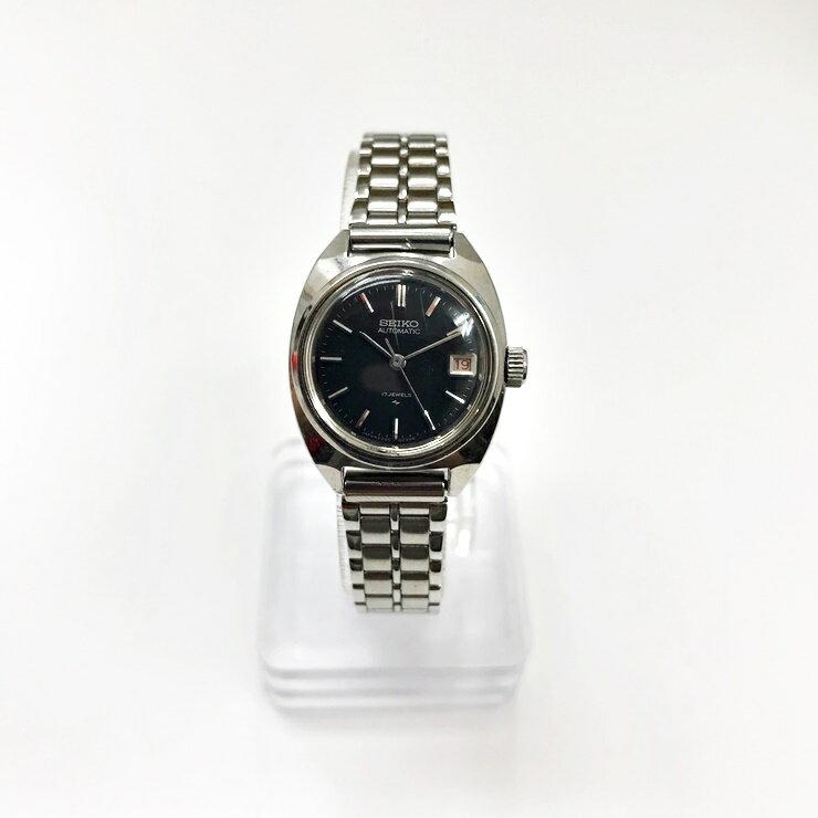 【中古】Bランク SEIKO セイコー レディースウォッチ 腕時計 2205-0050 自動巻 SS シルバー 黒文字盤【本物保証】