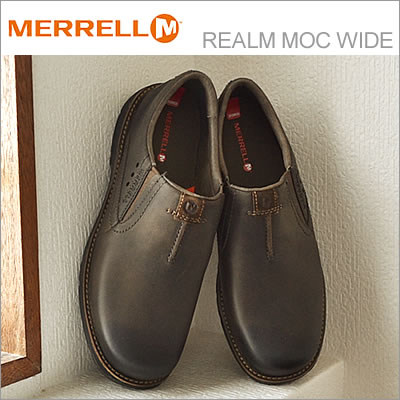 MERRELL メレル REALM MOC WIDE レルム モック ワイド CHOCOLATE チョコレート 靴 スニーカー コンフォートシューズ スリップオン