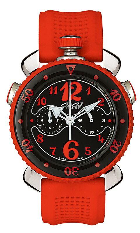 GAGA MILANO 7010.05CHRONO SPORTS 45MMガガミラノ クロノスポーツ 45ユニセックス クオーツ 腕時計シリコンラバー ラバー&ステンレスレッド×ブラック