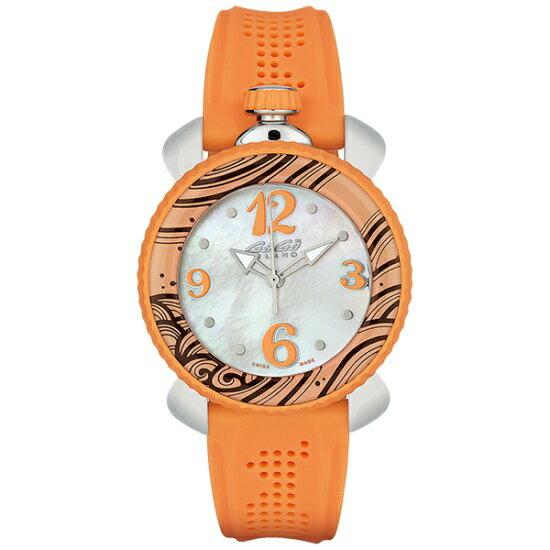 GAGA MILANO 7020.05Lady Sport 40mmガガミラノ レディスポーツ 40ユニセックス クオーツ 腕時計シリコンラバー ステンレスオレンジ×ホワイトシェル