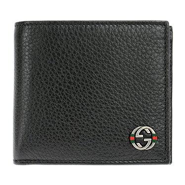 GUCCI 308795-A7MMN-1060 グッチ 二折小銭財布レザーブラック×シルバー