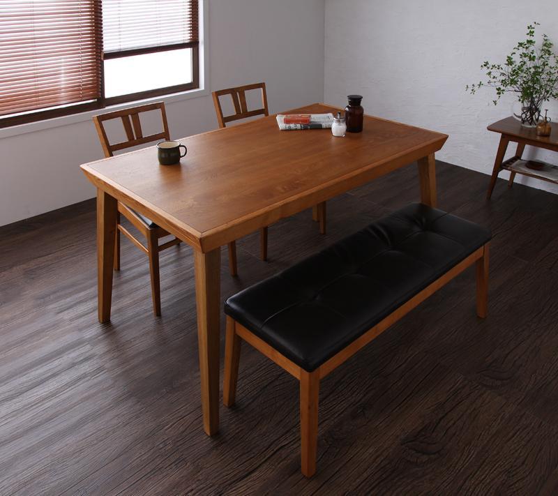ダイニングセット 4点 4人用  北欧 ヴィンテージ 4点セット (テーブル+チェア×2+ベンチ)【食卓 4点セット 四点セット 食卓セット テーブル チェア いす 椅子 イス 肘 ベンチ 北欧 無垢 アンティーク モダン 送料無料】