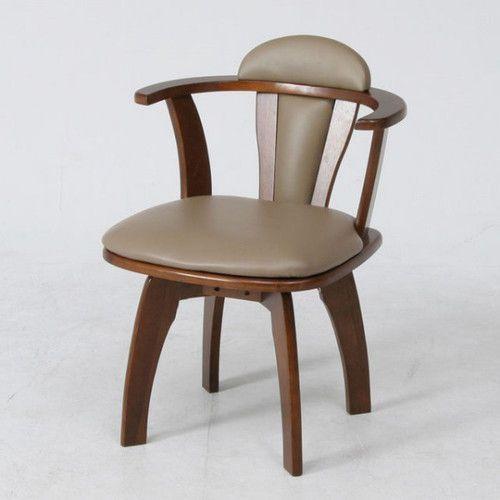 ダイニングチェア 肘付き 回転 チェアー ブラウン 茶色  【椅子 チェア イス いす 座椅子 フロアチェア パソコンチェア オフィスチェア キャスター付き椅子 ハイバック ダイニングチェア デザイナーズチェア リクライニングチェア 送料無料 ポイント】