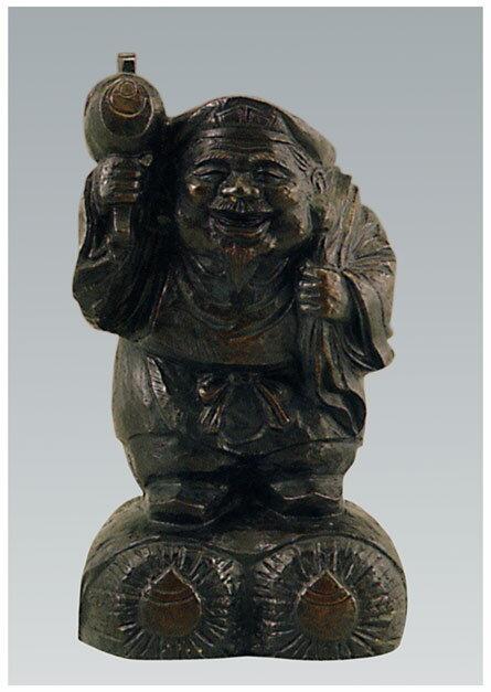 七福神 木彫風 大黒 般若純一郎 和雑貨 開運 床の間 銅像 香炉 送料無料