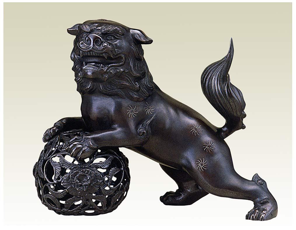 玉獅子 15号 床の間 開運 銅像 和雑貨 送料無料