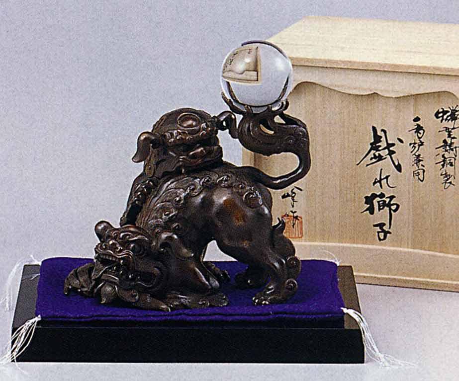 たわむれ獅子 床の間 開運 銅像 和雑貨 送料無料