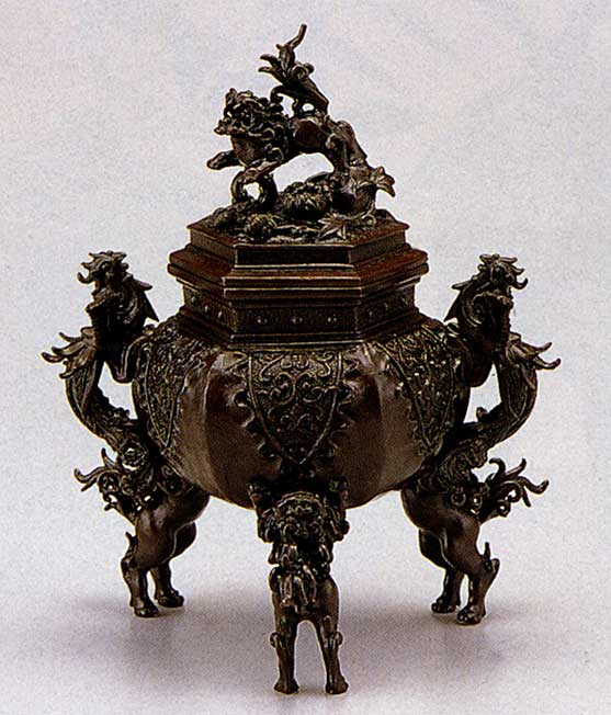 送料無料 香炉 六角牡丹獅子 二上 元威 床の間 置物 仏具 銅 ブロンズ
