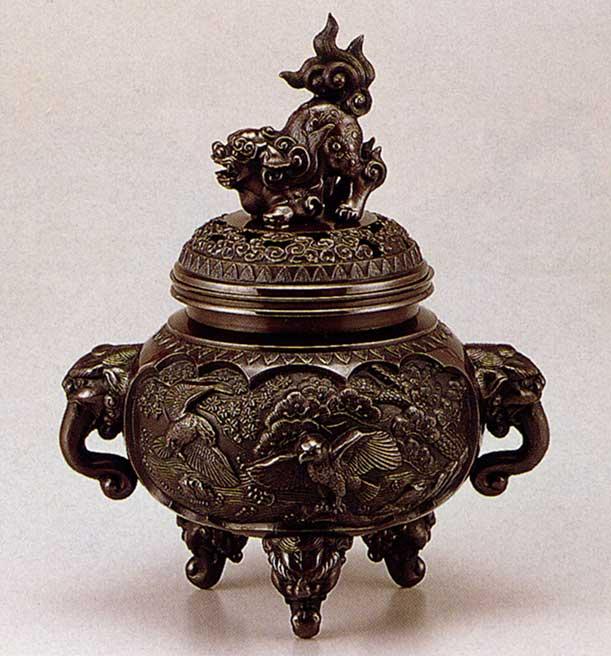 送料無料 香炉 新特大花鳥 床の間 置物 仏具 銅 ブロンズ