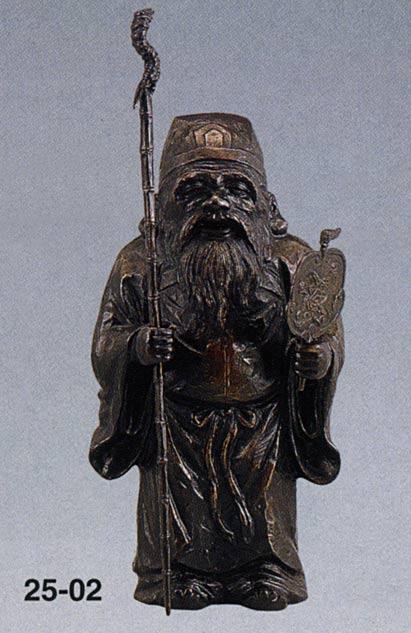 七福神 木彫風 寿老人 般若純一郎 和雑貨 開運 床の間 銅像 香炉 送料無料