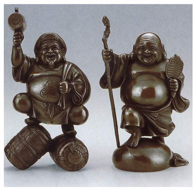 弐福神 恵美須 大黒 和雑貨 開運 床の間 銅像 香炉 送料無料