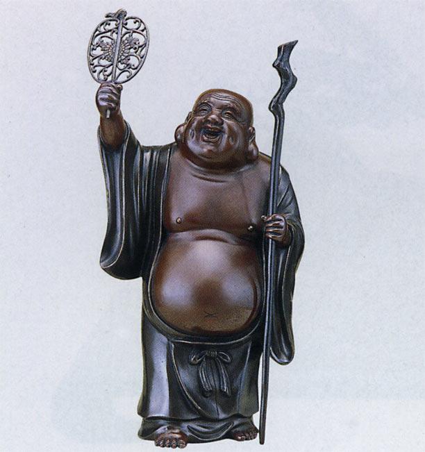 招福 七福神 軍配布袋 18号 越井栄山 床の間 開運 銅像 和雑貨 送料無料