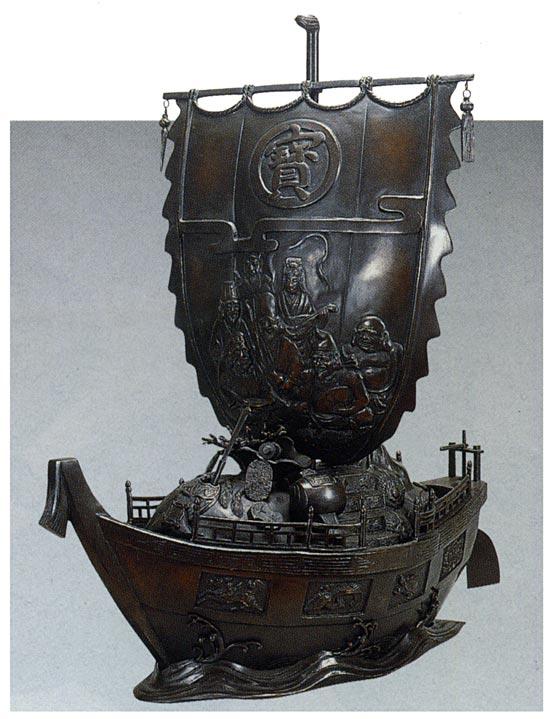 宝船 30号 般若純一郎 床の間 開運 銅像 和雑貨 送料無料