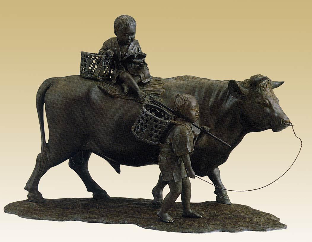 立牛童子 17号 床の間 開運 銅像 和雑貨 鷹 送料無料