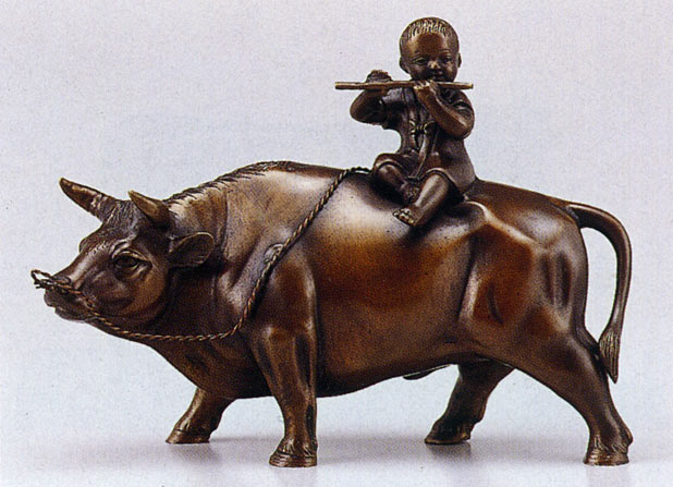 立牛童子 8号 床の間 開運 銅像 和雑貨 鷹 送料無料