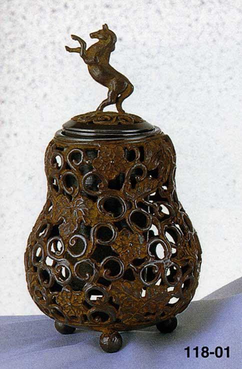 送料無料 香炉 瓢箪透駒 名取川 雅司 床の間 置物 仏具 銅 ブロンズ